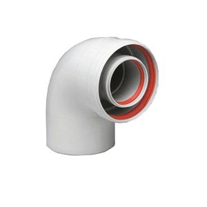 300x300 curva coassiale 90 degrees con passo o 60 slash 100 mm per caldaie a condensazione ferroli