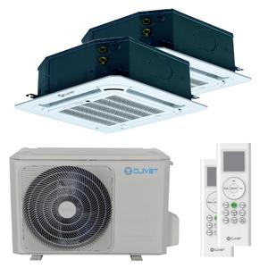 300x300 condizionatore clivet cassetta 4 vie mini dual split 9000 plus 18000 btu inverter a plus plus unita esterna 5400 watt ue